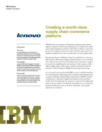 Creating a world class supply chain commerce platform
