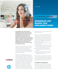 HP Converged Storage Deduplicate and restore your information faster
