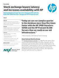 Stock exchange lowers latency and increases availability with HP