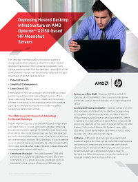 Deploying Hosted Desktop Infrastructure on AMD OpteronTM X2150-based HP Moonshot Servers