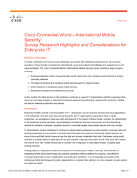 Cisco Connected World - International Mobile Security: Survey Research Highlights and Considerations for Enterprise IT