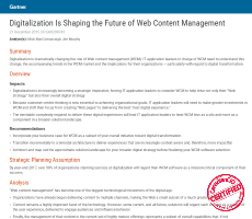 Gartner: Digitalization is Shaping the  Future of Web Content Management