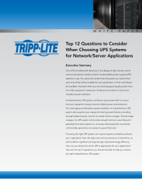 Top 12 Questions to Consider When Choosing UPS Systems for Network/Server Applications