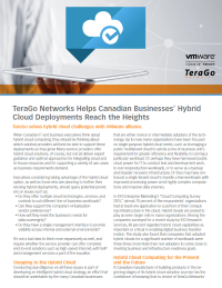 TeraGo Networks Helps Canadian Businesses' Hybrid Cloud Deployments Reach the Heights