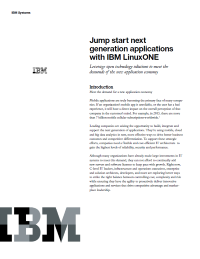 Jump start next generation applications  with IBM LinuxONE