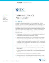 IDC: The Business Value of Printer Security