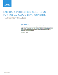 EMC Data Protection Solutions For Public Cloud Environments