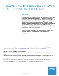 Recovering The Business From A Destructive Cyber Attack