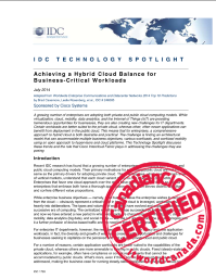IDC TECHNOLOGY SPOTLIGHT:  Achieving a Hybrid Cloud Balance for  Business-Critical Workloads