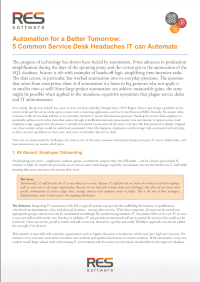 Automation for a Better Tomorrow:  5 Common Service Desk Headaches IT can Automate