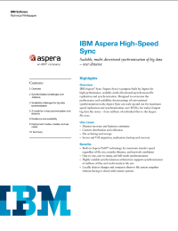 IBM Aspera High-Speed Sync.  Scalable, multi-directional synchronization of big data - over distance