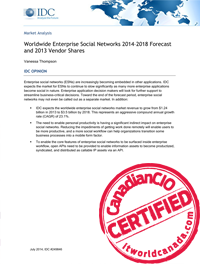 Worldwide Enterprise Social Networks.  2014–2018 Forecast and 2013 Vendor Shares