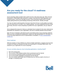 Are you ready for the cloud? Assess your business requirements and suitability