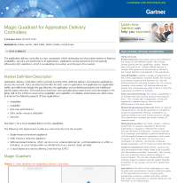Gartner 2015 Magic Quadrant for Application Delivery Controllers