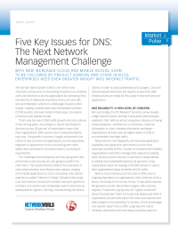 Five Key Issues for DNS - The Next Network Management Challenge