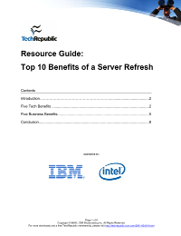 Resource Guide: Top 10 Benefits of a Server Refresh