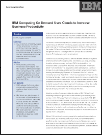 IBM Computing On Demand Uses Clouds to Increase Business Productivity