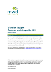 Vendor Insight Customer analytics profile IBM