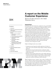 A report on the Mobile Customer Experience