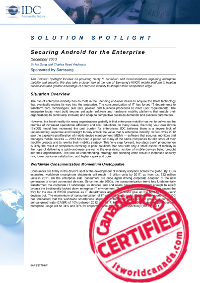 Securing Android For the Enterprise