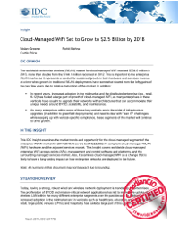 Cloud-Managed WiFi Set to Grow to $2.5 Billion by 2018