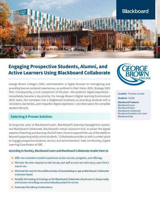 Engaging Prospective Students, Alumni, and Active Learners with Blackboard Collaborate