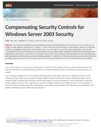Compensating Security Controls for Windows Server 2003 Security