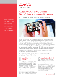 Avaya WLAN 9100 Series: Top 10 things you need to know