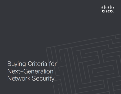 Buying Criteria for Next Generation Security