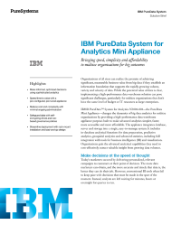 IBM PureData System for Analytics Mini Appliance