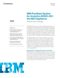 IBM PureData System for Analytics N3001-001: the Mini Appliance