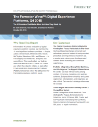 The Forrester Wave™: Digital Experience Platforms, Q4 2015