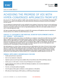 Achieving The Promise Of VDI With Hyper-Converged Appliances From VCE  Solution Brief
