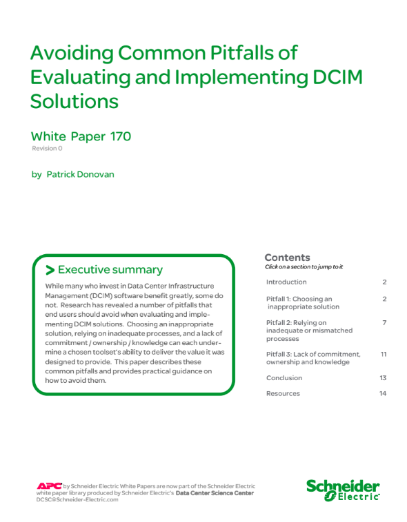 Avoiding Common Pitfalls of Evaluating and Implementing DCIM Solutions