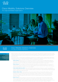 Cisco Mobility Solutions Overview: For Large and Midsize Organizations