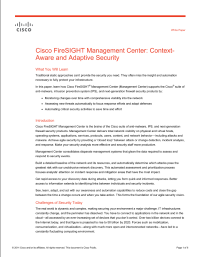 Cisco FireSIGHT Management Center: Context-Aware and Adaptive Security
