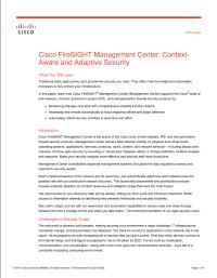 Cisco FireSIGHT Management Center: Context-Aware and Adaptive Security