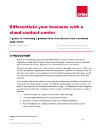 Differentiate your business with a cloud contact center