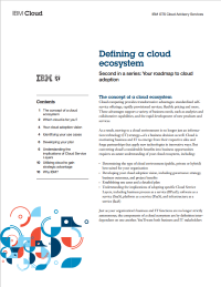 Defining a cloud ecosystem - Second in a series: Your roadmap to cloud adoption