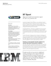 BT Sport High-speed transfers and automation support BT Sport's new production hub