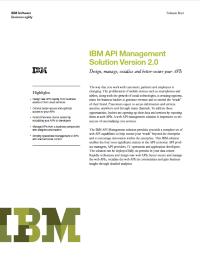 IBM API Management Solution Version 2.0  Design, manage, socialize and better-secure your APIs