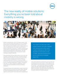 The New Reality of Mobile Solutions
