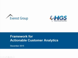 Framework For Actionable Customer Analytics