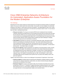 Cisco One Enterprise Networks Architecture - an automated, application-aware foundation for the modern enterprise