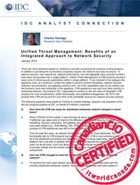 IDC Analyst Connection - Unified Threat Management: Benefits of an Integrated Approach to Network Security