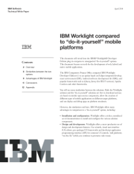 "IBM Worklight compared to ""do-it-yourself"" mobile platforms"