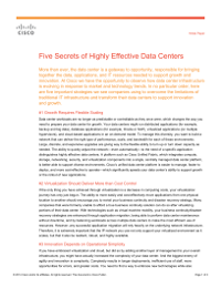 Five Secrets of Highly Effective Data Centers