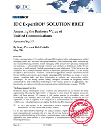 IDC ExpertROI® SOLUTION BRIEF - Assessing the Business Value of Unified Communications